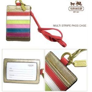 Coach multi stripe ID Badge Holder Lanyard